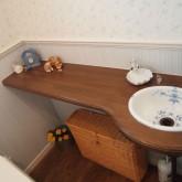 注文住宅 かっこいい工務店 オーダーメイド ミューズ建築工房 施工例6  パウダールーム トイレ 造作洗面