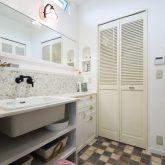 注文住宅 かっこいい工務店 熊本 ブレス ブレスホーム 施行例24 プロヴァンス サニタリールーム 造作洗面化粧台