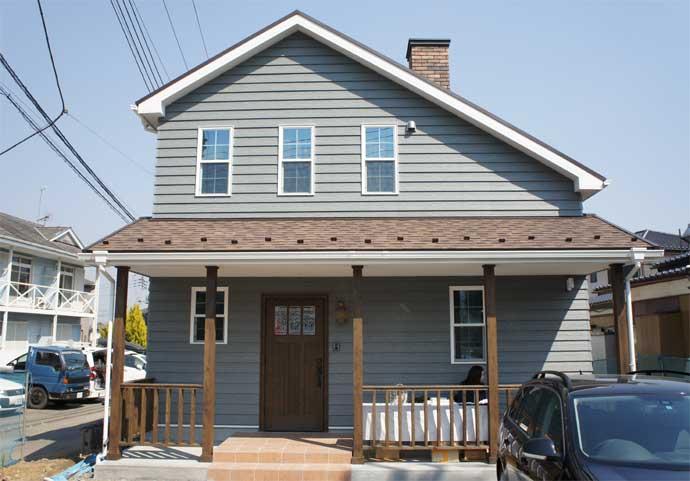 注文住宅 かっこいい工務店 栃木 イエプラン建築事務所 自由設計 施工例14 北米 ブルックリンスタイル 外観 ラップっサイディング