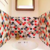 注文住宅 かっこいい工務店 岡山 アイム・コラボレーション アイムの家 施工例6 家族のコミュニケーションも個々の趣味も大切にした家 造作洗面 モザイクタイル
