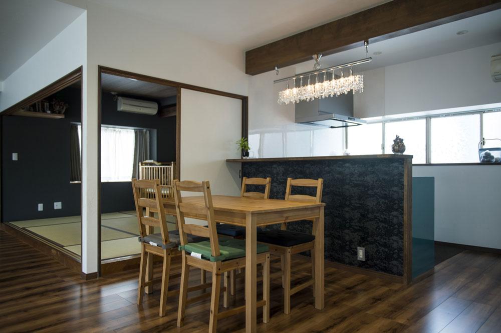 かっこいい工務店 熊本 ブレス ブレスホーム リノベーション ナチュラルモダン サロンのある家 リビング&キッチン