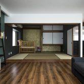 かっこいい工務店 熊本 ブレス ブレスホーム リノベーション ナチュラルモダン サロンのある家 リビング 和室