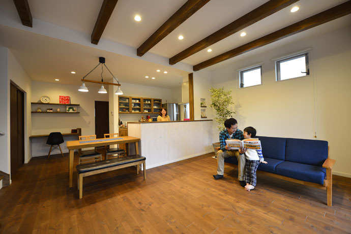 注文住宅 かっこいい工務店 規格住宅 熊本 ブレス 施工例 熊本市東区 ナチュラルモダン リビング