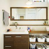 注文住宅 かっこいい工務店 熊本 ブレス ブレスホーム 施行例25 プロヴァンス サニタリースペース 木製 造作洗面台 収納庫