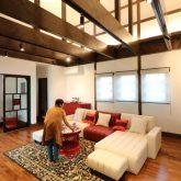 注文住宅 かっこいい工務店 熊本 ブレス ブレスホーム 施工例27 和風建築 平屋 リビング 吹き抜け 梁