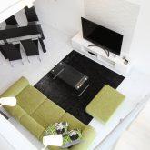 注文住宅 かっこいい工務店 岡山 アイム・コラボレーション アイムの家 施工例4 リビングにスケルトン階段のある、モダン&スタイリッシュな住まい 吹き抜け リビング
