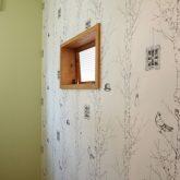 注文住宅 かっこいい工務店 山形 自由設計 福井建設 施工例11 南仏スタイル キッチンが主役の明るいお家 洗面室 室内窓 個性的なクロス