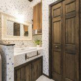 注文住宅 かっこいい工務店 福岡 不動産プラザ 施工例14 プロヴァンス 洗面所 洗面化粧台