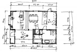 注文住宅 かっこいい工務店 京都府 福知山市 ADACHI住建 足立住建 商品 ほどよく自然体でかっこよく暮らす家 平面図 1F