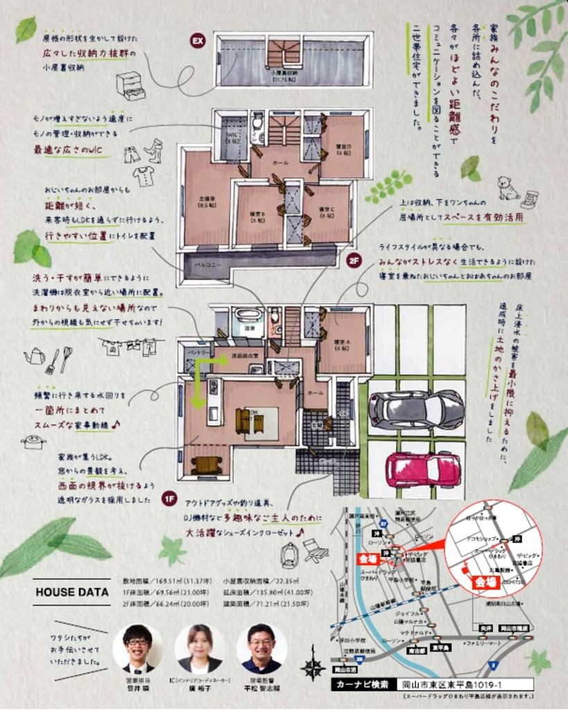 注文住宅 かっこいい工務店 岡山 アイアムコラボレーション アイムの家 岡山市東区東平島 暮らしの体験会 二世帯住宅 間取り