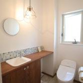注文住宅 かっこいい工務店 熊本 ブレス ブレスホーム 施工例40 ナチュラルテイスト トイレ 造作 手洗い洗面